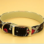 Dog Collar Adjustable/Retractable Black / Blue / Pink PU Leather