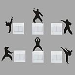 AYA™ Set of 6 DIY Creative Kongfu Switch Stickers Wall Decor