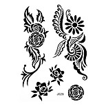 1pc Henna Temporary Tattoo Black Rose Woman Body Art Waterproof Tattoo Sticker BJ029