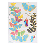 1pc Flash Metallic Temporary Tattoo Woman Colorful Butterfly Feather Waterproof Tattoo Sticker VT345
