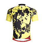 Breathable and Comfortable Paladin Summer Male Short Sleeve Cycling Jerseys DX660 Yellow Skeleton
