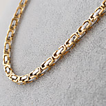 Fashion Three Colors Titanium Steel The Great Well Pattern Chain Necklace