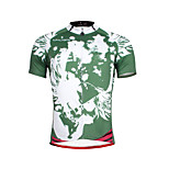 Breathable Paladin Summer Male Short Sleeve Cycling Jerseys 100% Polyester DX656 Green Skeleton