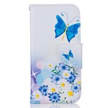 EFORCASE Blue Butterflies Painting PU Phone Case for iphone7 7plus