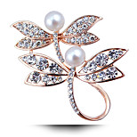 Women's Crystal Imitation Pearl Rhinestone Gold Plated Wedding Party Prom Dress Accessories Pins Jewelry Brooches