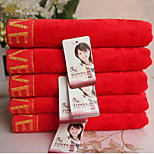 Bright Red Jacquard Velvet Cotton Towel