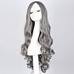 Fashion Long Curly Smoke Gray Wig 28