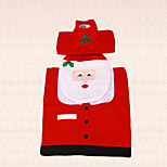 3pcs New Year Christmas Santa Claus Fish Eyes Toilet Seat Cover Tank Cover and Rug Bathroom Indoor Decor