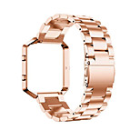 Three Solid Stainless Steel WatchBand Band Strap +Metal Frame For Fitbit Blaze Activity Tracker watch