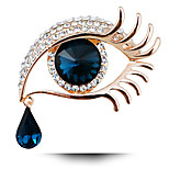 Women's Fashion Vintage Full Of Rhinestone Long Eyelashes Big Eyes Jewelry Crystal Brooch Pins