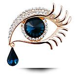Women's Fashion Vintage Full Of Rhinestone Long Eyelashes Big Eyes Jewelry Crystal Brooch Pins
