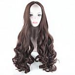 2016 Women's Synthetic Dark Brown Wig Long Wavy Hair Full Wig African American Hair Wig Cosplay Wig