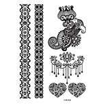 5pcs Black Flower Lace Women Henna Chain Stocking Jewelry Temporary Lace Tattoo Sticker