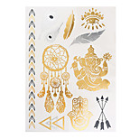 1pc Flash Gold Silver Metallic Waterproof Tattoo Woman Dreamcatcher Feather Temporary Tattoo Sticker VT331