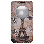 Eiffel Tower Pattern Pattern Window Clamshell PU Leather Case with Stand and Card Slot for LG G5/G4/G3