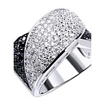 Jet Black & Clear White Contrast Design Women's Party Rings Cubic Zirconia Prong Setting Brass Made Lead Free
