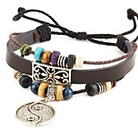 Punk Men's Bracelet PU Leather Bracelet Tai ji Charm Multilayer for Men Fashion Jewelry