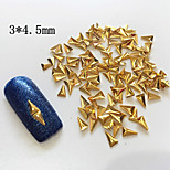100PCS 3*4.5MM Golden Metal Alloy Triangle Nail Art Decoration