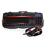 Sunsonny Ergonomic Three Color Adjustable LED Illuminated Gaming Keyboard and Mouse Combo Set