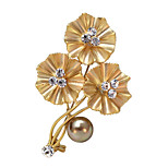 Women's Fashion Accessories Flower Simulated-Pearl Brooch Romantic Crystal Classic Jewelry Wedding/Party Brooches