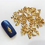 100PCS 2*3.5MM Golden 3D Metal Alloy  Triangle Nail Art Decoration