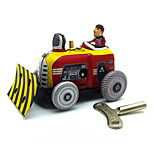 A Bulldozer Wind-up Toy Leisure Hobby Metal Red For Kids