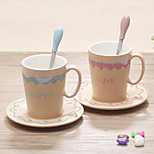 Creative Ceramic Cup Lovers Cup Of Coffee With A Spoon Set