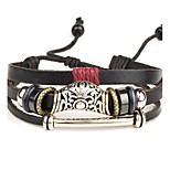 Punk Men's Bracelet PU Leather Bracelet Multilayer for Men Fashion Jewelry