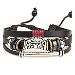Bracelets en cuir 1pc,Style Punk Forme Ronde Brun Alliage / Cuir Bijoux Cadeaux