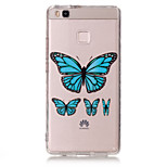 TPU Material Blue Butterfly Pattern Painted Relief Phone Case for Huawei P9 Lite/P9/P8 Lite