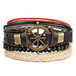 4pcs/set Punk Men's Bracelet PU Leather Bracelet Anchor Adjustable Beads Multilayer for Men Fashion Jewelry