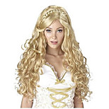 Fashion Capless Long Wave Blonde Color with Braid Cosplay Synthetic Wig for Europen and American Ladies