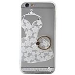 de volta Suporte para Alianças / Congelado / Translúcido / Estampa Flor PC Duro Ring Holder+3D Relief+Translucent Case Capa Para Apple