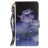 Painted Blue Flowers Pattern Card Can Lanyard PU Phone Case For Sony Z2 Z3 Z3mini M4