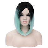 Ombre Short Wig Women's Cute Fringe Straight Bob Cosplay Wig Heat Resistant Black/Green Color Short Synthetic Wig