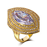 Women Horse Eye Finger Rings Clear White Cubic Zirconia Pave Setting Bridal Ladies Fashion Ring 18K Gold Plated