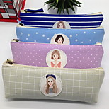 South Korean Stationery Triangular Pencil Case Canvas Cosmetic Bag Storage Bag for Female