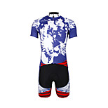 PaladinSport Men 's Cycling Jersey + Shorts Suit DT654 Blue Skeletons