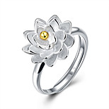 Fine Sterling Silver Flowers Diamond Statement Ring for Women Wedding Party
