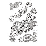 1pc Black Fake Folwer Henna Temporary Tattoo for Woman Body Art Chain Jewelry Sticker BM-LS1018