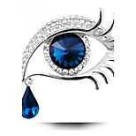 Women's Fashion Suspended Teardrop Long Eyelashes Big Eyes Jewelry Gift Silver Rhinestone Crystal Party Brooch