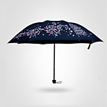 Cherry Sunny Umbrella Girls Vinyl Folding Sun Umbrella Three Folding Sun Visor Dual