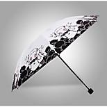 Black / White / Orange Folding Umbrella Sunny and Rainy Textile Travel / Lady / Men