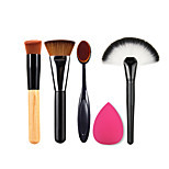 2 x MakeupBrush+Powder Blush Foundation Brush+ Sponge Puff + Contour Brushes Pincel Maquiagem