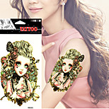5 Pcs  Waterproof Sexy Arm Tattoo Body Art Crown VS Girl Vs Bone Big Fake Shoulder Tattoo Stickers