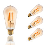 3.5W E26 LED Filament Bulbs ST19 COB 300 lm Amber Dimmable / Decorative AC 110-130 V 4 pcs
