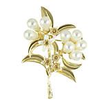 Goldfarbe Nachahmung Perlenblumenbroschen