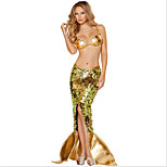 Costumes Mermaid Tail Halloween / Carnival / Oktoberfest Golden Vintage Terylene Skirt / Bra / Tail