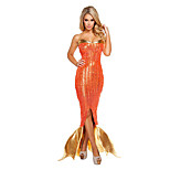Costumes Mermaid Tail Halloween / Christmas / Carnival Golden / Orange Vintage Terylene Dress