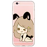 Cartoon Cute Girl Pattern TPU Ultra-thin Translucent Soft Back Cover for Apple iPhone 6s 6 Plus SE/5s/5